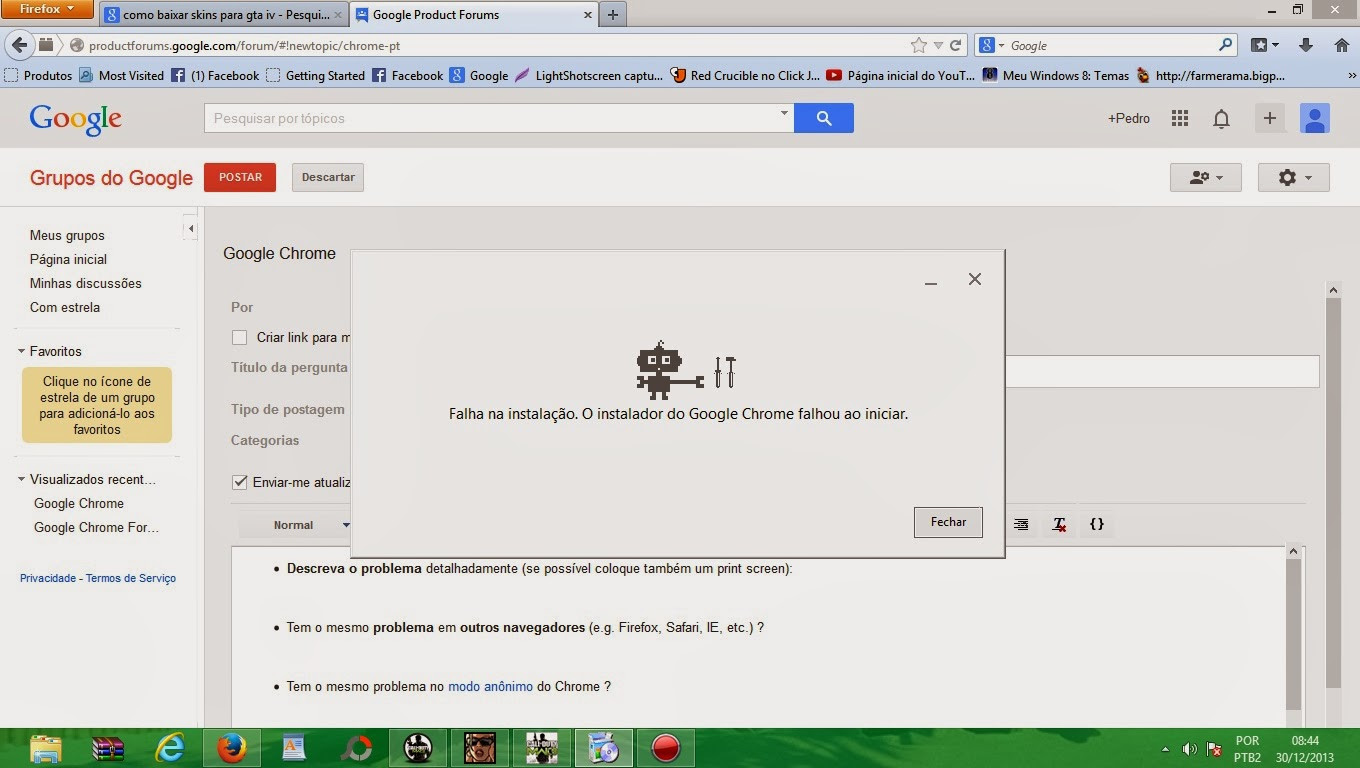 Picked By Us) Falha no download google chrome
