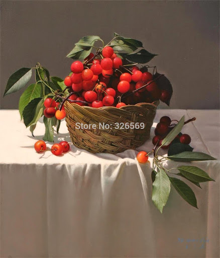 realist painting cherry in basket printed oil painting