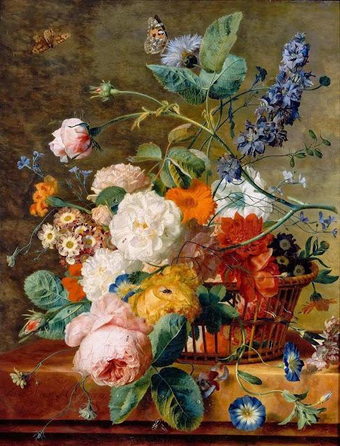 Jan van Huysum - Basket of Flowers