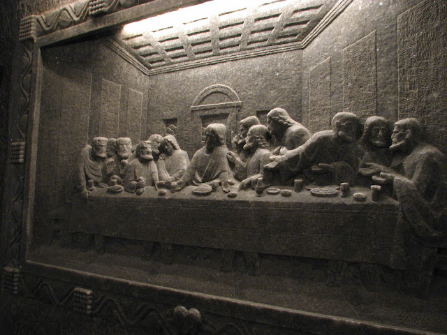 The last supper carved in salt in the krakow mines