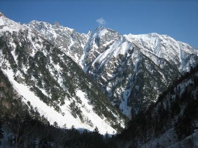 北穂高岳、涸沢岳と蒲田富士
