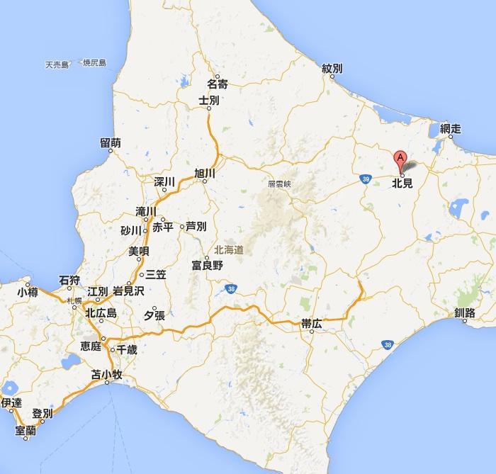 かつ徳 北見店・地図