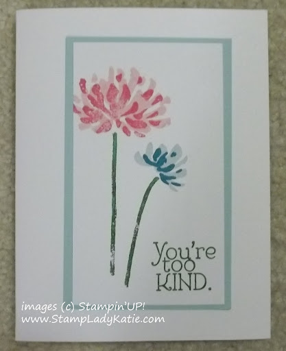 Card made with Stampin'UP! set: Too Kind, a 2-step stamp set