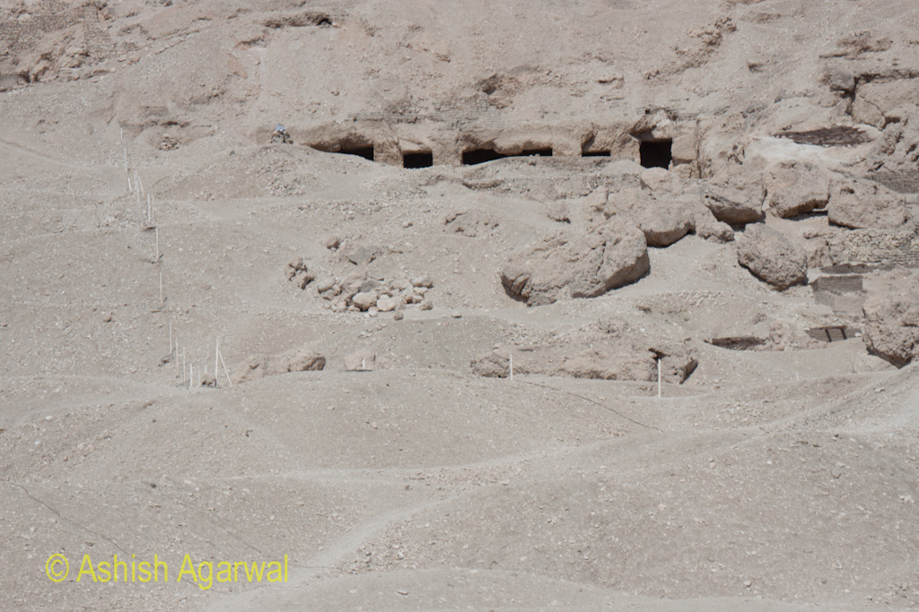 Tombs on the limestone cliff outside Luxor, in Egypt
