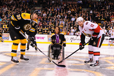 Zdeno Chara and Daniel Alfredson at the ceremonial puck drop