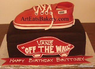 Vans red shoe and black shoebox custom creative sculpted birthday cake design