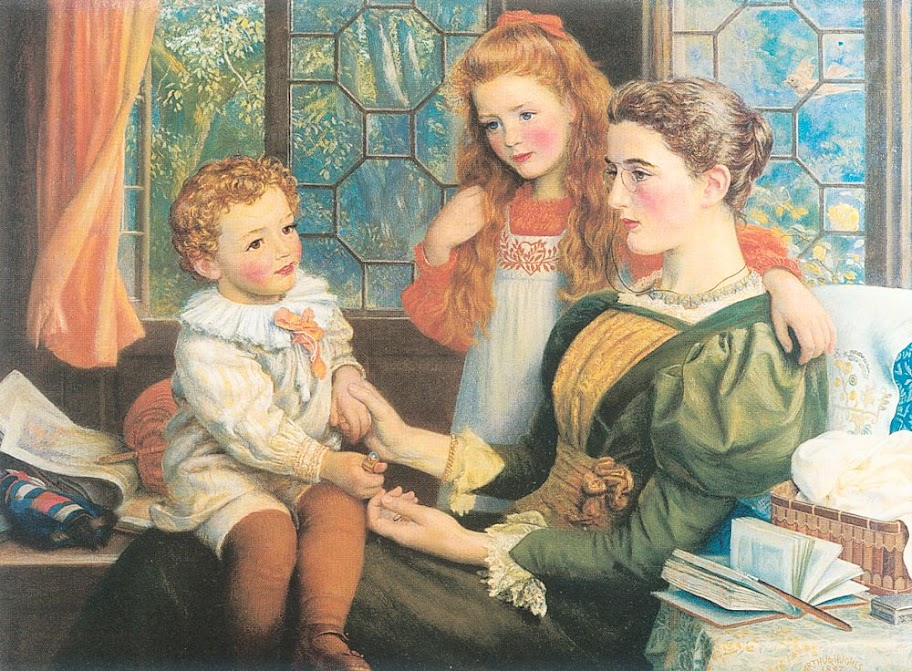 Arthur Hughes - Mrs. Norman Hill and Children (1897)
