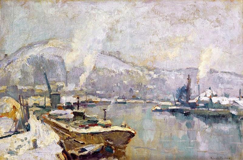Robert Antoine Pinchon - La Seine et la Côte Sainte Catherine à Rouen en hiver