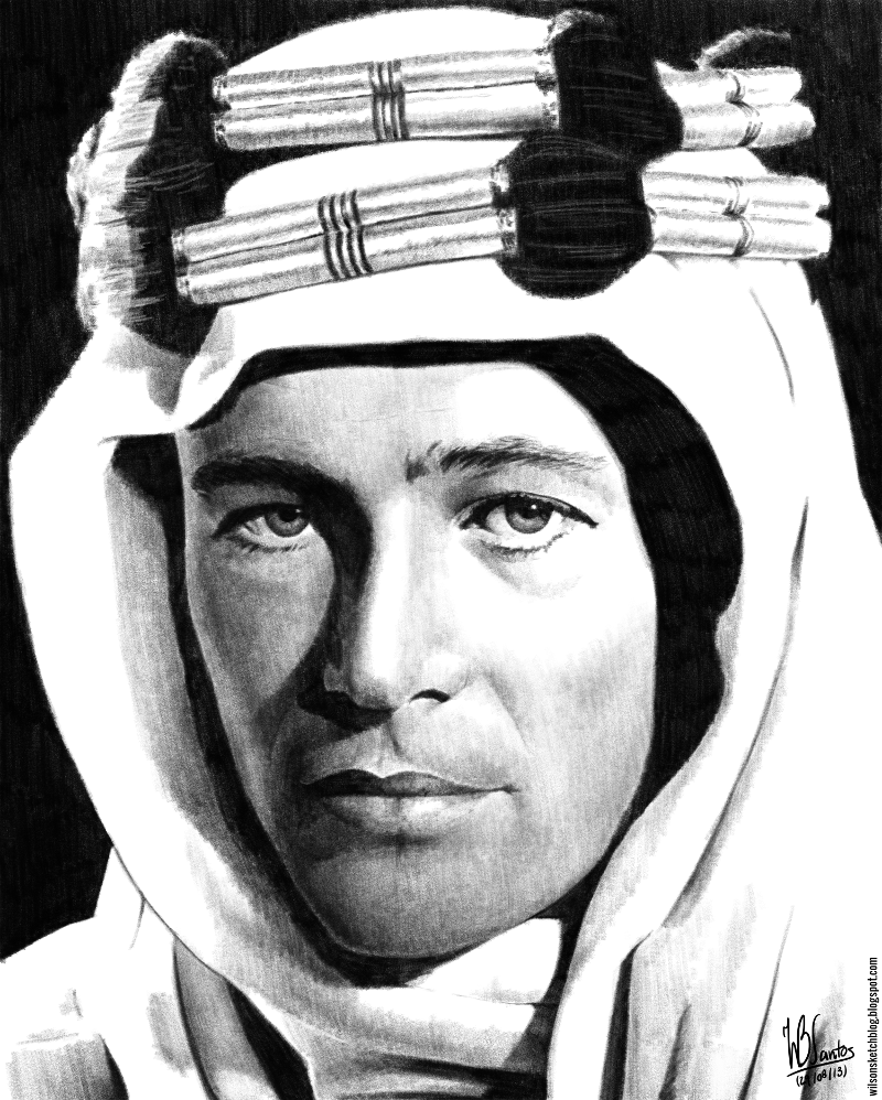 Pencil drawing of Lawrence of Arabia, using Krita.