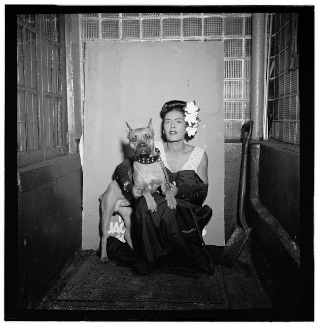 Billie Holiday and her dog Mister