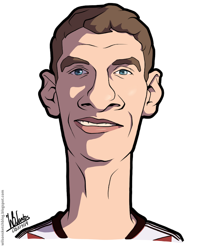 Cartoon caricature of Thomas Müller.