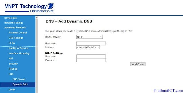 [Quản trị mạng] Các tính năng Router Wi-Fi (GW040 của VNPT) có thể bạn chưa biết? DNS-Dynamic