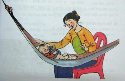 Hình ảnh mẹ ru con ngủ trên cánh võng