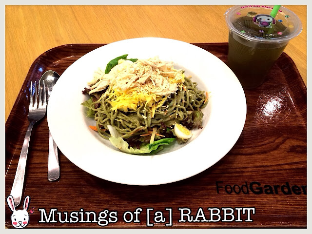 Penguin Noodles: Green Soba, Sesame Sauce, Shredded Chicken, Fried Eggs and Salad
