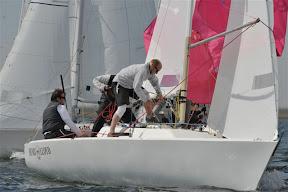 J/22s sailing the Netherlands around mark