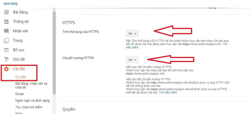 Cách chuyển https cho blogger
