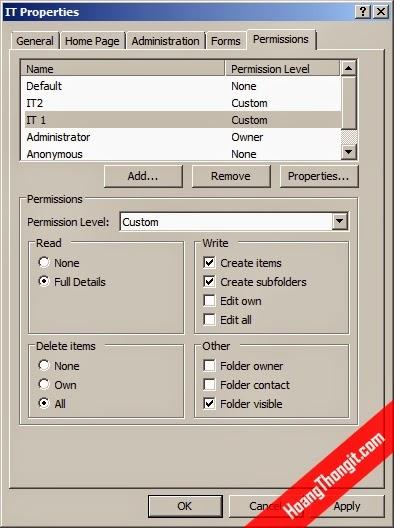 Gán giấy phép cho người dùng được sử dụng Public Folder
