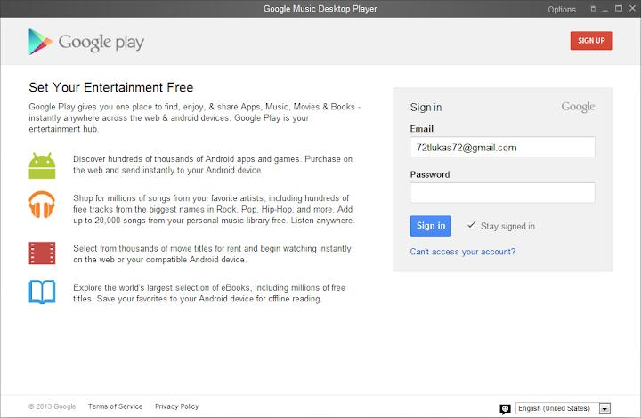 První spuštění - Google Music Desktop Player