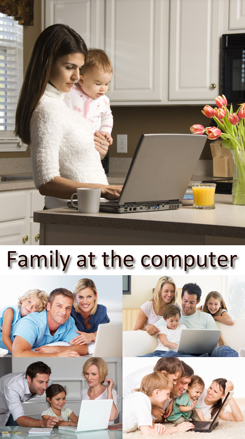 Stock Photo: Family at the computer