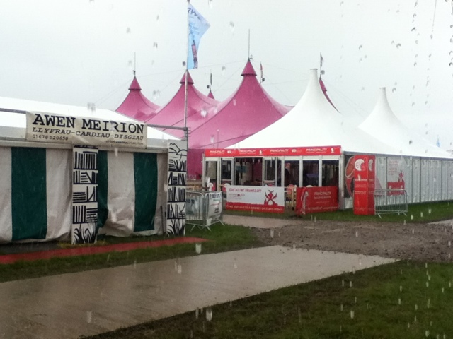 View of the rain from GGAT's stand at the National eisteddfod