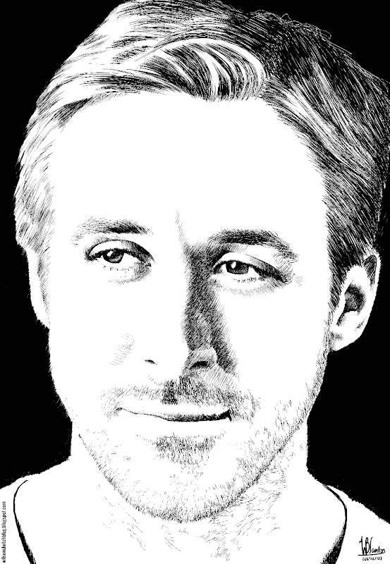 Ink drawing of Ryan Gosling, using Krita 2.5.