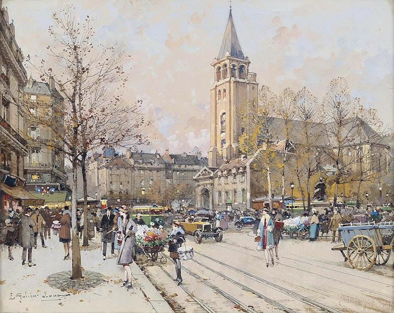 Eugène Galien-Laloue - Paris Eglise de St-Germain-des-Prés