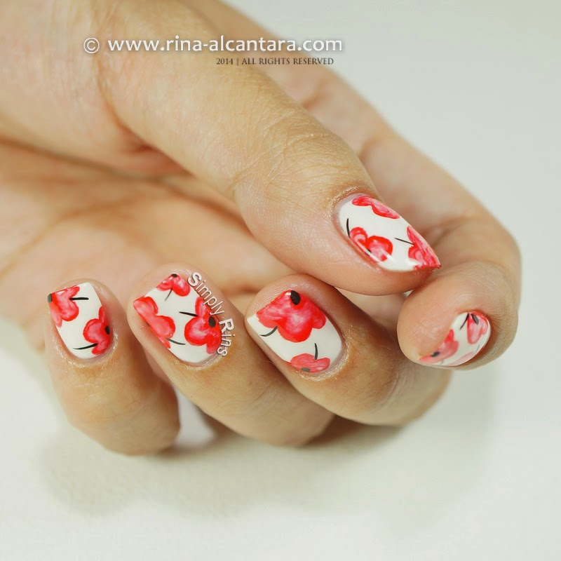 Pretty Poppies Nail Art Design