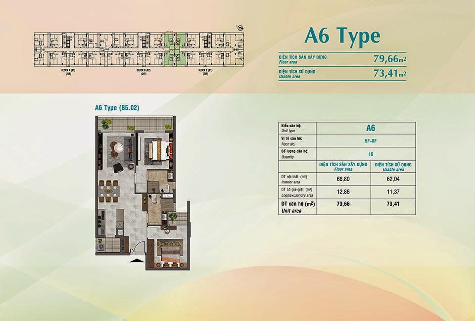Căn hộ Scenic Valley Phú Mỹ Hưng, kiểu A6, 79.66m2 có thiết kế 2 phòng ngủ