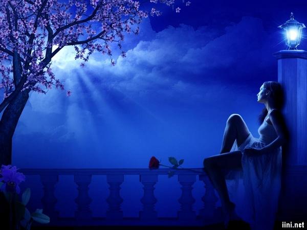 ảnh cô gái ngắm trăng trong đêm