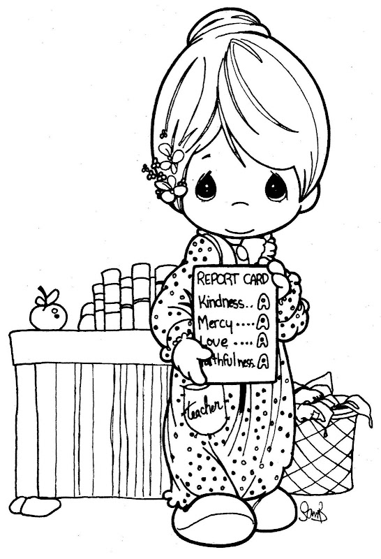 Precious moments baptism coloring pages