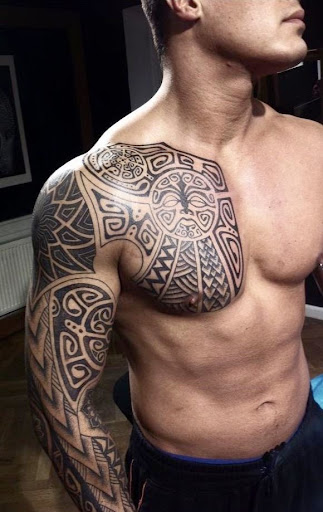 maori tattoos for men on hand and chest