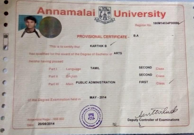 Annamalai University Provisional Certificate