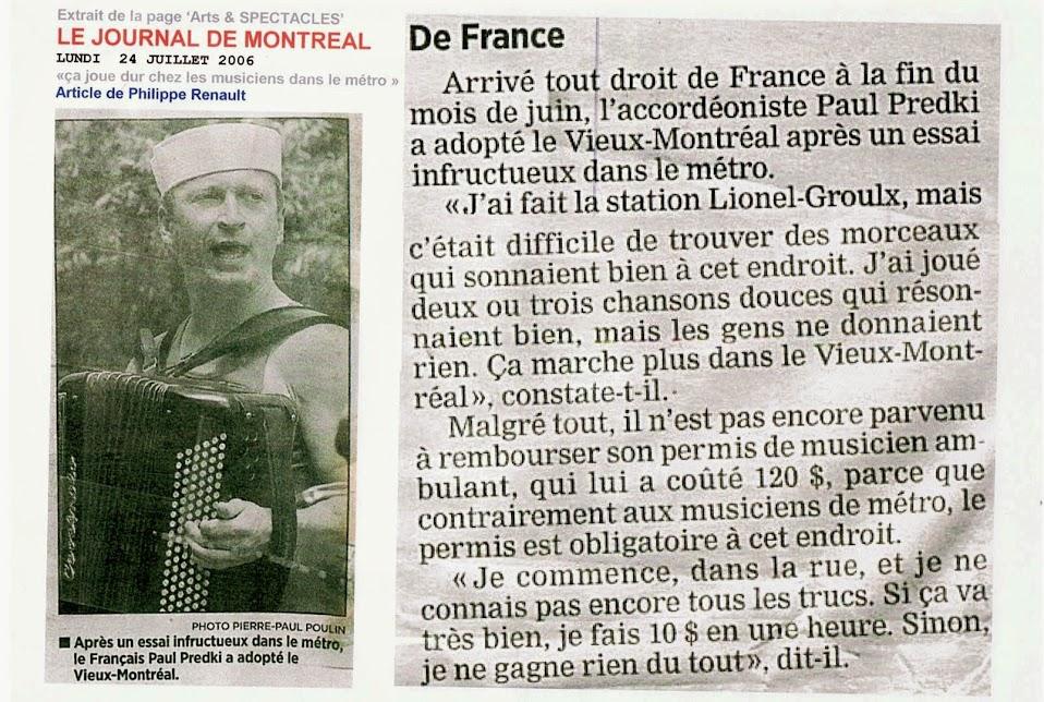 Paul PREDKI dans Le Journal de Montréal - 2006