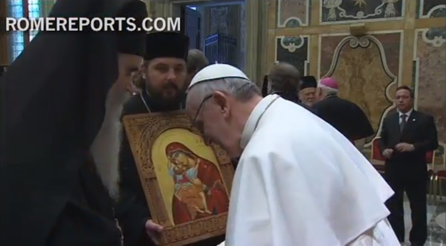 Митрополит Амфилохије на пријему црквених и вјерских делегација код Папе римског Франциска