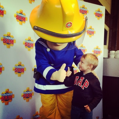 Blake Clement meets Fireman Sam at the Fireman Sam Ocean Rescue Event