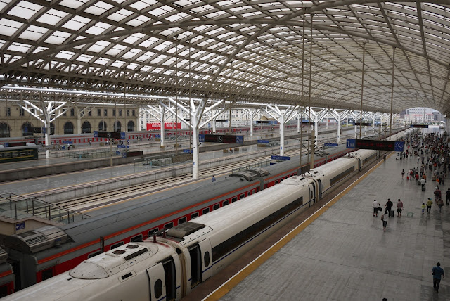 trains at the Qingdao Railway Station