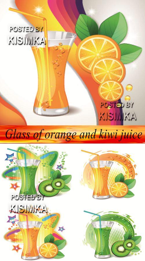 Stock: Glass of orange and kiwi juice