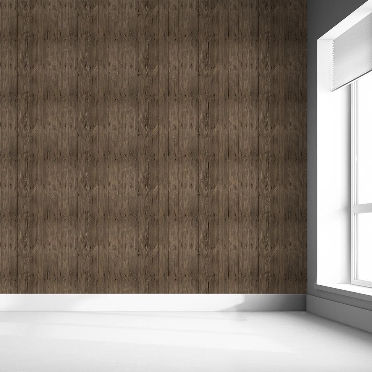 Rustic Wood Effect Panel Wallpaper Brown MINEHEART
