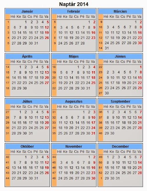 2o14 naptár 2014 es naptár, páratlan és páros hét jelöléssel. 2o14 naptár