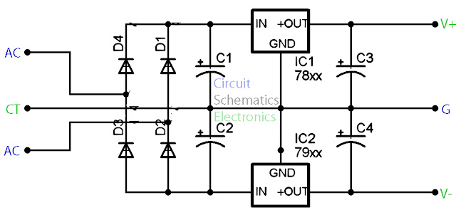 78XX and 79XX stabilizer circuit diagram