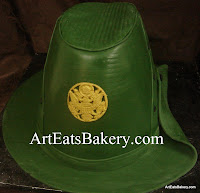 Custom creative unique sculpted female Army Drill Sargent green fondant graduation cake design idea picture