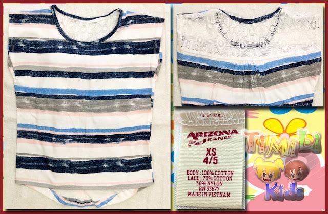 Áo thun bé gái Arizona màu xanh , hàng xuất xịn, made in vietnam.2