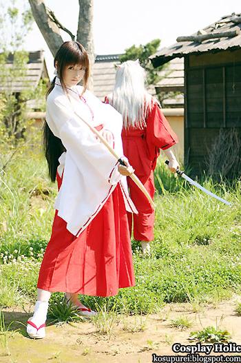 inuyasha cosplay - kikyo and inuyasha