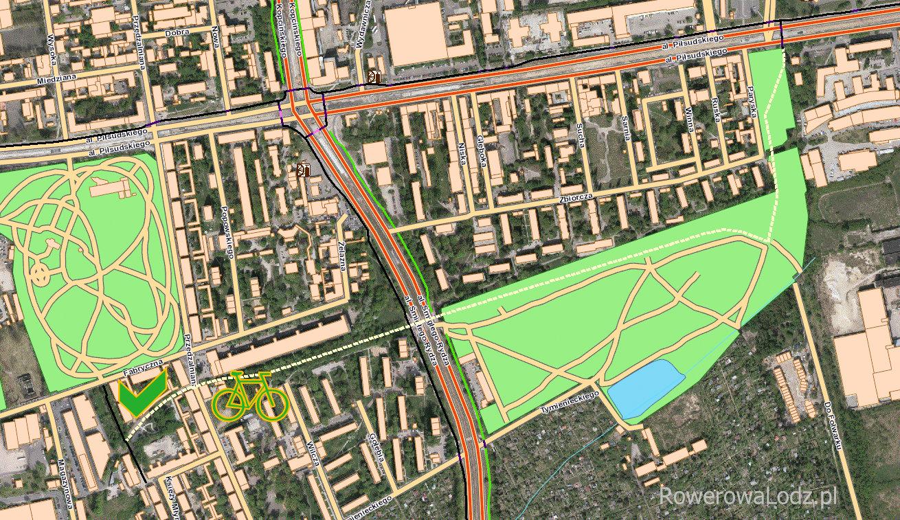 Mapa ukazująca projektowany przebieg trasy po dawnej bocznicy kolejowej Karola Scheiblera