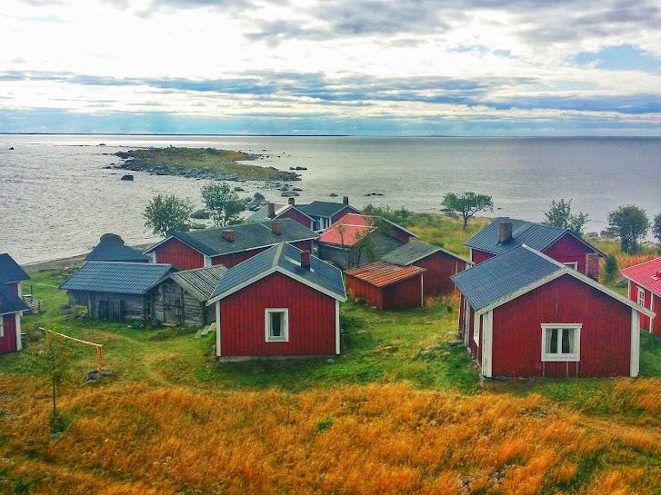 A few of the 40 cabins found on Maakalla, a remote fishermen's island off the coast of Kalajoki, Finland.