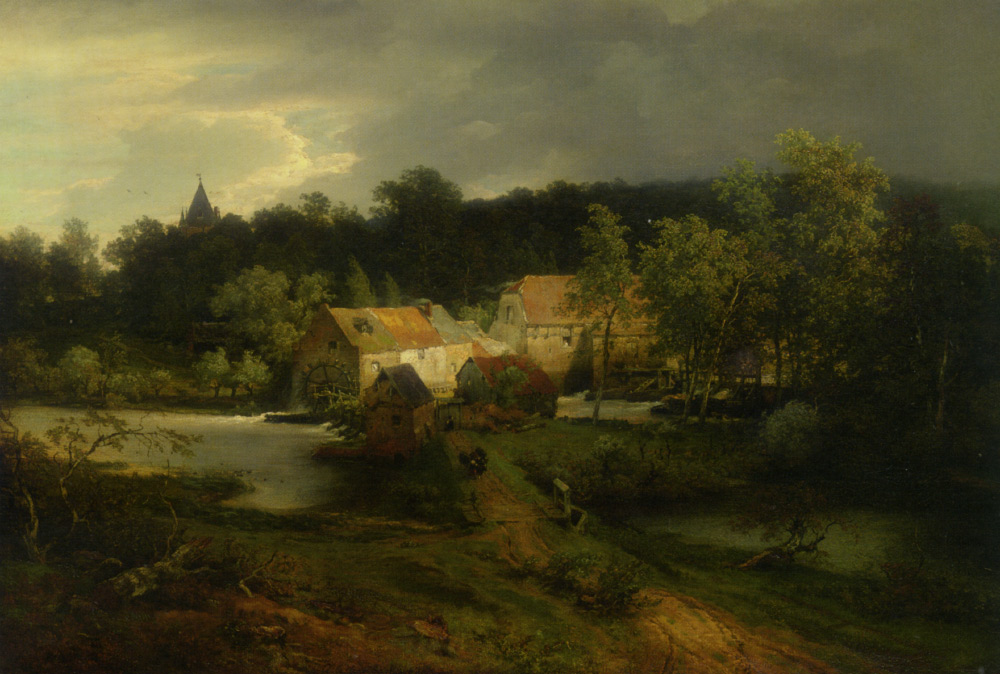 Andreas Achenbach - The Watermill in the Village