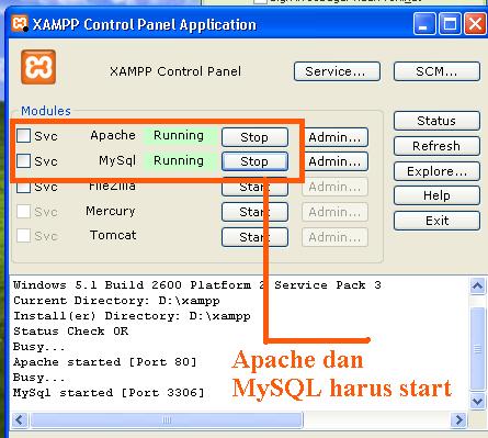 Apache dan MYSQL harus jalan