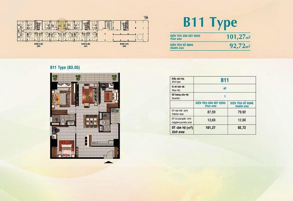 Căn hộ Scenic Valley Phú Mỹ Hưng, kiểu B11, 101.27m2 có thiết kế 3 phòng ngủ
