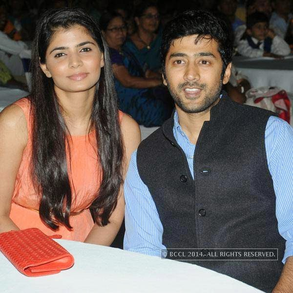Chinmayee and Rahul Ravindran during a filmy event in Hyderabad.