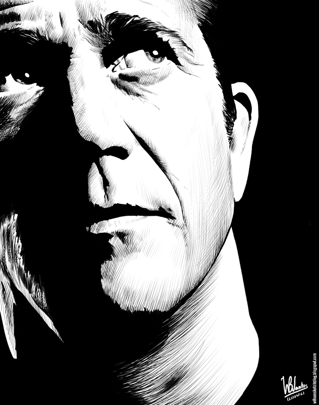 Ink drawing of Mel Gibson, using Krita 2.4.